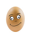 Funny eggs brown egg with happy face on white background Royalty Free Stock Photo