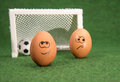 Funny eggs and football goal and envy egg Stock Image
