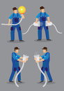 Funny Electrician Vector Character Illustration Royalty Free Stock Photo