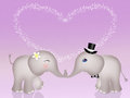 Funny elephants in love Royalty Free Stock Photo