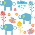 Funny elephants seamless pattern and seamless pattern in swatch menu,