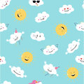 Funny emoji clouds and sun. Vector Seamless pattern