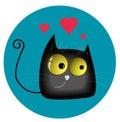 Funny enamored cat vector illustration