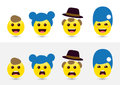 Funny expressing social media smileys. Joyful and sad icons of f