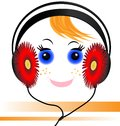 Funny face of the boy with headphones Stock Images