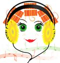 Funny face of the girl with headphones Royalty Free Stock Photo