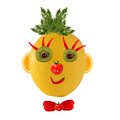 Funny face made of vegetables and fruits healthy eating Royalty Free Stock Photo