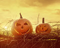 Funny Face Pumpkins Sitting On...
