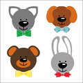 Funny faces animals with bow tie baby collection a set of dog bunny kitty teddy cartoon Stock Image