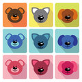 Funny faces animals in flat icons baby collection a set of dog kitty teddy cartoon Stock Photography