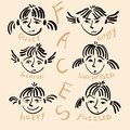 Funny faces girls with different emotions Royalty Free Stock Photography