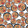 Funny faces seamless background vector cartoon style pattern Stock Photos