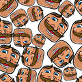 Funny faces seamless background vector cartoon style pattern Royalty Free Stock Photos