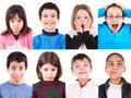Funny faces several kids making Stock Images