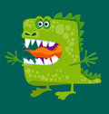 Funny fairy dragon with big teeth and open hug. Royalty Free Stock Photo