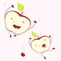 Funny falling joyful expression apple halves. Isolated illustration. Concept of harvest, joyful living, optimistic challeng