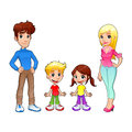 Funny family cartoon and isolated vector characters Stock Images