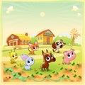 Funny farm animals in the garden cartoon vector illustration Royalty Free Stock Image