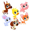 Funny farm animals and pets vector cartoon isolated characters Stock Photos