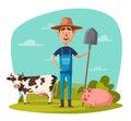 Funny farmer. Cartoon vector illustration.