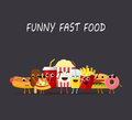 Funny fast food characters isolated on dark background. Happy smile cartoon face fastfood, comical snack