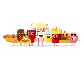 Funny fast food characters isolated on white background. Happy smile cartoon face fastfood, comical snack