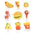 Funny fast food, set for label design. Cartoon detailed Illustrations