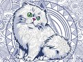 funny fat cat doodle for adult stress release coloring page