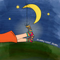 Funny feet on green grass at night illustration Stock Image