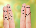 Funny fingers. Faces drawn on fingers. Stock Images