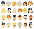Funny flat avatars icons set. Positive male and female characters. Vector illustration. Royalty Free Stock Photo