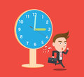 Funny flat character overtime concept illustration Stock Image