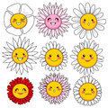 Funny Flower Faces Stock Photography