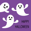 Funny flying ghost. Smiling and sad face with tooth. Happy Halloween. Royalty Free Stock Photo