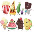 Funny food characters dancing conga. Popcorn, pizza, cucumber, olives, chocolate, ice cream, watermelon, cupcake, taco. Digital