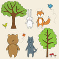 Funny forest animals Stock Photography