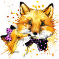 Funny fox, watercolor background. fashion print