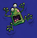 A funny fraked out frog shouting Royalty Free Stock Photos