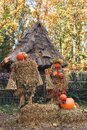 Funny friendly scarecrow of straw and pumpkin in village courtyard. Royalty Free Stock Photo
