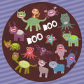 Funny frightening monsters on purple striped background party card design vector illustration Stock Photo