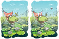 Funny frog differences visual game children illustration eps mode task find differences solution hidden layer Royalty Free Stock Photos