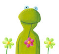 Funny frog in the flowers Stock Photography