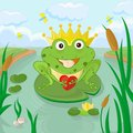 Funny frog with heart Royalty Free Stock Images
