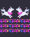 Funny frolic unicorns and beautiful striped border, composed of bright flowers, butterflies and petals on black background