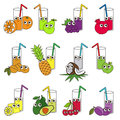 Funny Fruit and Berry Juices set, the collection of coloring book template, the group of outline digital elements