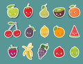 Funny fruit character stickers set. Cartoon vector illustration Royalty Free Stock Photo