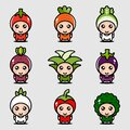 Visual design - Funny fruit face and cartoon fruit characters icon vector set page design Royalty Free Stock Photo
