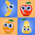 Funny fruit set of banana orange pear and apple Royalty Free Stock Photos