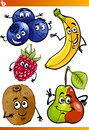 Funny fruits cartoon illustration set of comic food characters Stock Photos