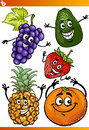 Funny fruits cartoon illustration set of comic food characters Stock Photography
